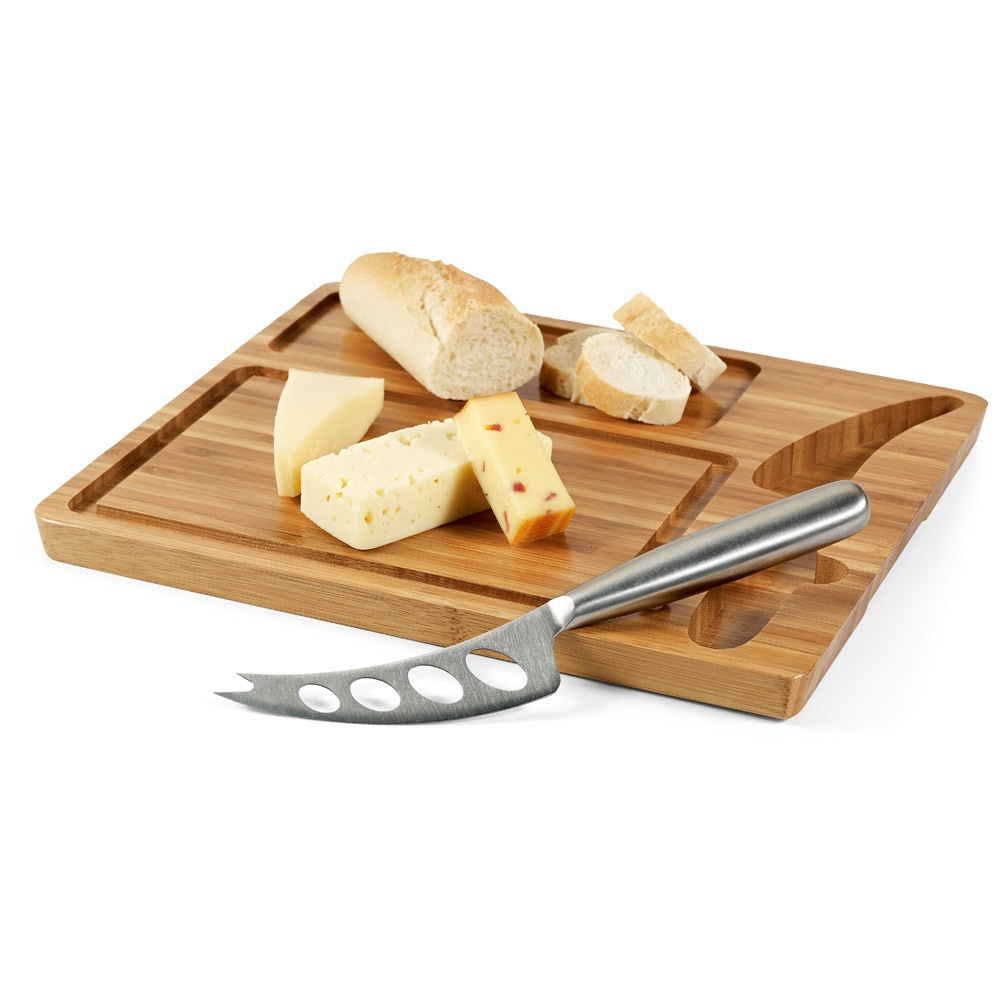 Käsebrett aus Bambus mit Messer